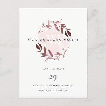 PINK ROSE GOLD PURPLE FOLIAGE WREATH SAVE THE DATE ANNOUNCEMENT