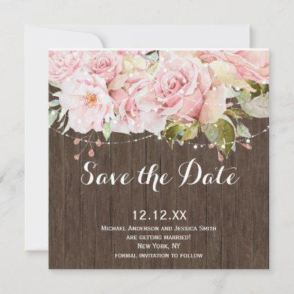 Pink Rose Rustic Wood String Lights Save the Date