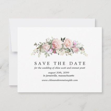 Pink Rose Save the Date Card with Photo Back