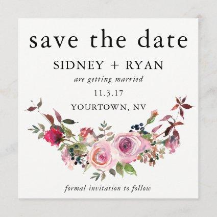 PINK ROSE Save the Date Watercolor Floral Bouquet