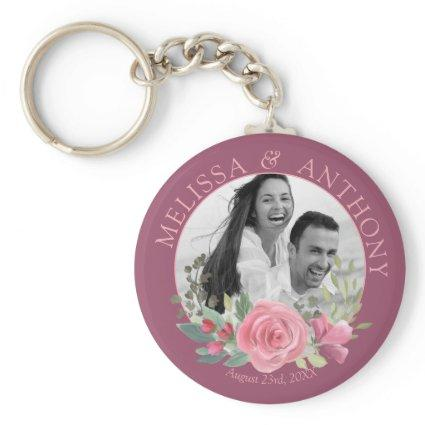 Pink Rose Wreath Photo Wedding Save the Date Keychain