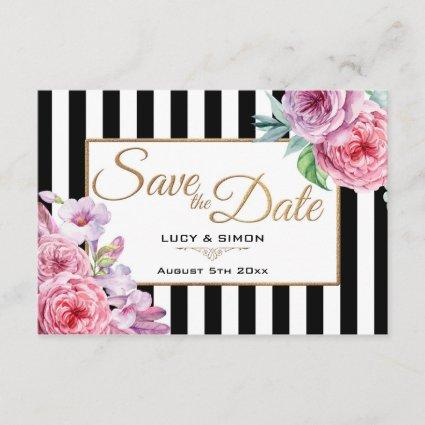Pink Roses and Stripes Save the Date Card