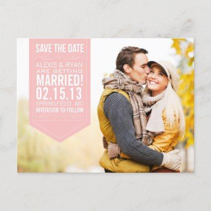 Pink Save The Date Announcements Cards