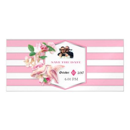 Pink Stripes Floral Doves Wedding RSVP Magnets