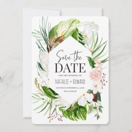 Pink, teal and orchid tropical floral save the date