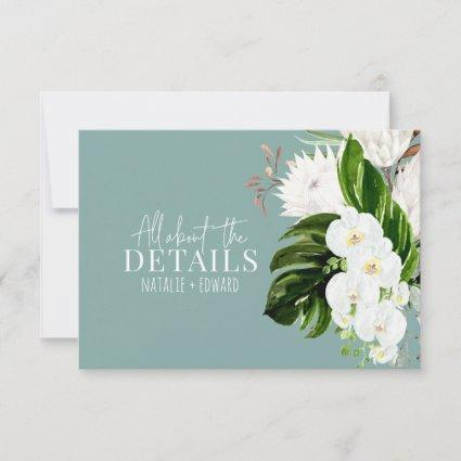 Pink, teal + orchid tropical floral enclosure card