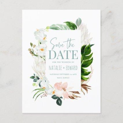 Pink, teal + orchid tropical floral photo announcement