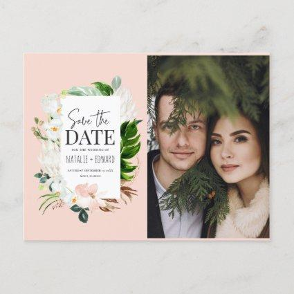 Pink, teal + orchid tropical floral save the date announcement