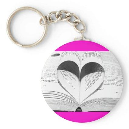 Pink Valentine's Day Girly Heart Save the Date Keychain