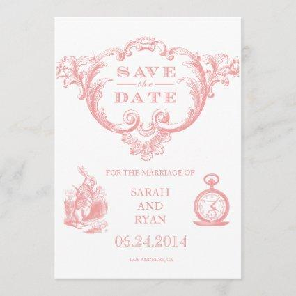 Pink Vintage Alice in Wonderland Save the Date
