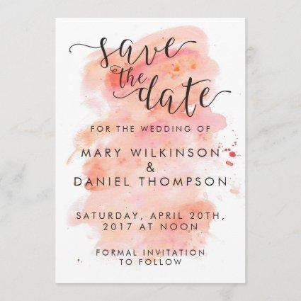 Pink Watercolor Background Wedding Save the Date