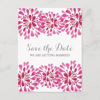 Pink Watercolor Chrysanthemum Save the Date Announcement
