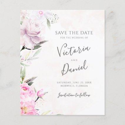 Pink Watercolor Floral Wedding Save The Date