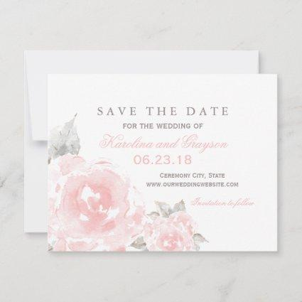 Pink Watercolor Roses | Wedding Save The Date