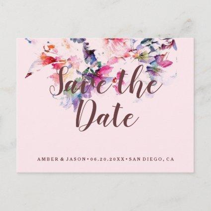 Pink Whimsical Floral Watercolor Save the Date Announcement