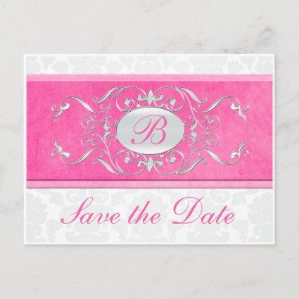 Pink, White, and Gray Damask Save the Date Announcement