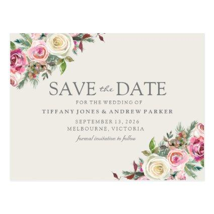 Pink White Florals Save The Date Cards
