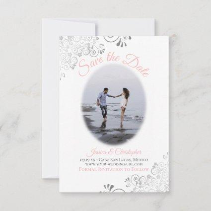 Pink & White Simple Elegant Wedding Oval Photo Save The Date