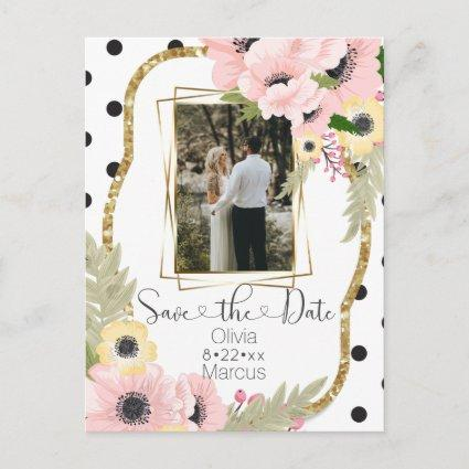 Pink Yellow Poppy Save the Date Floral Photo