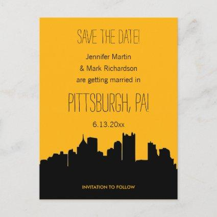 Pittsburgh Wedding Black and Gold Save the Date Announcement