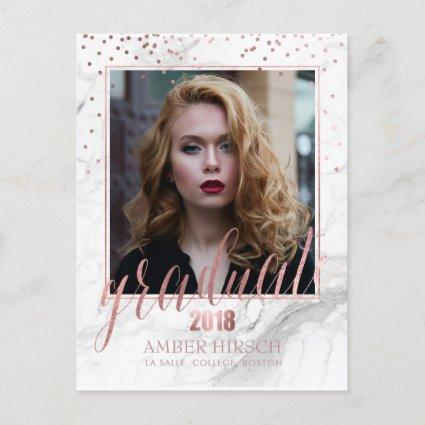 PixDezines 2018 Graduate Photos/Marble+Rose Gold Announcements Cards
