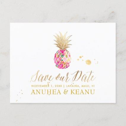 PixDezines Aloha Pineapple/Hot Pink/Save the Date Announcement