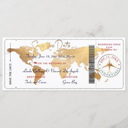PixDezines Boarding Pass Save the Date, World Map Invitation