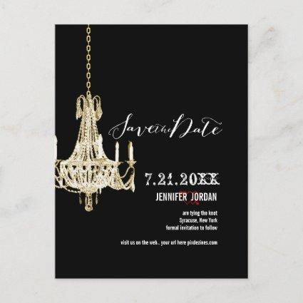 PixDezines chandeliers/gold trim/save the date Announcements Cards