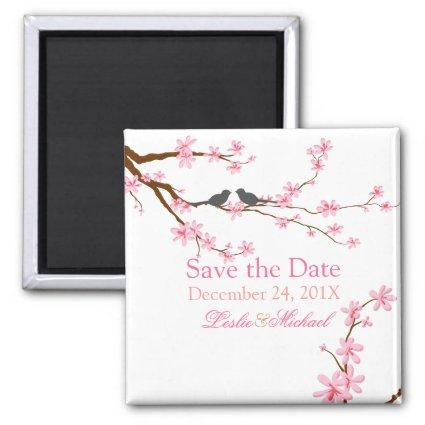 PixDezines Cherry Blossom+love birds Magnets