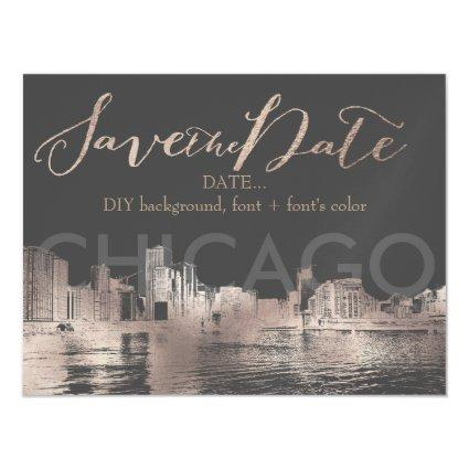 PixDezines Chicago Sketched Cityscape Magnetic Invitation