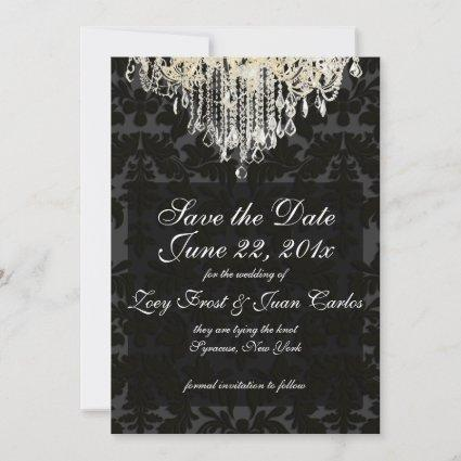 PixDezines crystal chandelier/Baroque Damask Save The Date