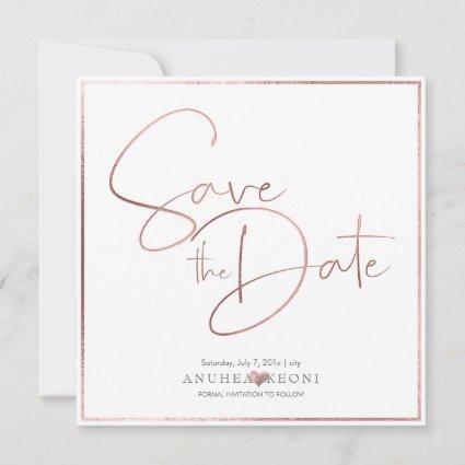 PixDezines DELICATE LOVE FAUX ROSE GOLD FOIL Save The Date