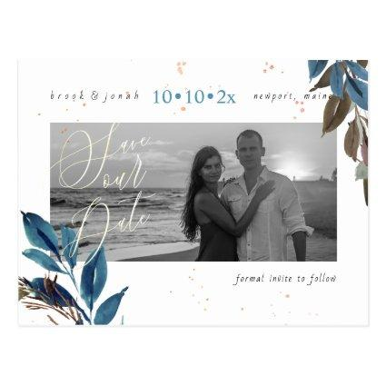 PixDezines Dusty Teal Foliage Save our Date