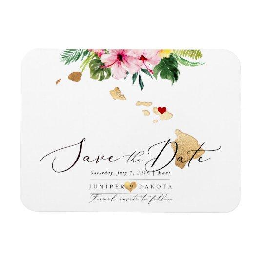 PixDezines Elegant Hawaiian DIY Map Save the Date Magnet
