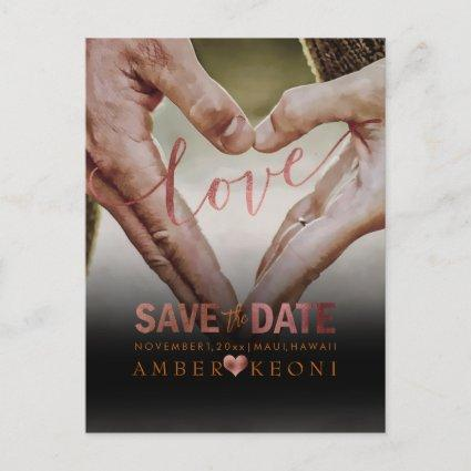 PixDezines Faux Copper Save the Date/Heart Announcements Cards