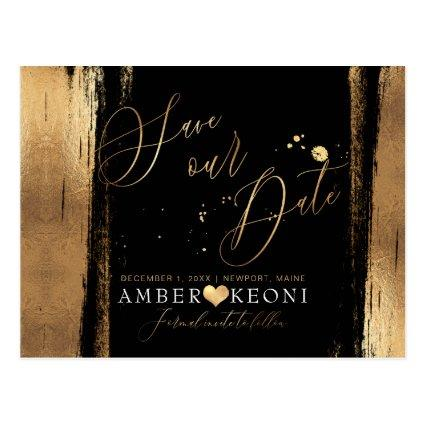 PixDezines Faux Gold Brush Stroke Save our Date