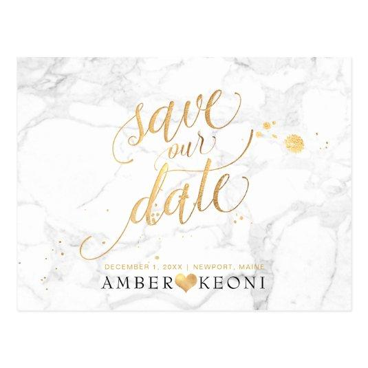 PixDezines Faux Gold/Marble/Save our Date Cards