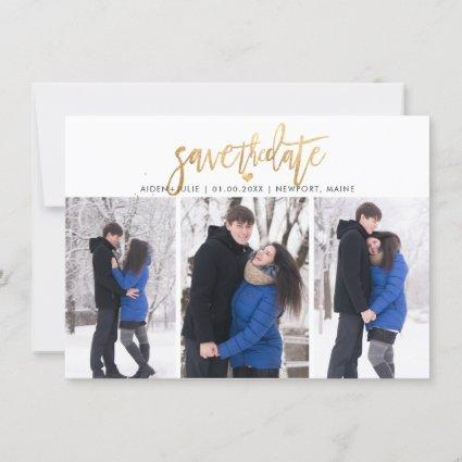 PixDezines Faux Gold Modern Brush Script Save The Date