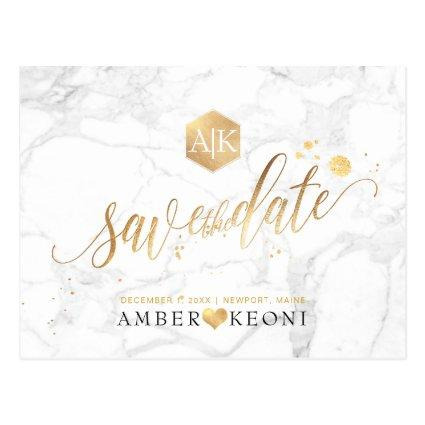 PixDezines Faux Gold/Monogram/Marble/Save our Date