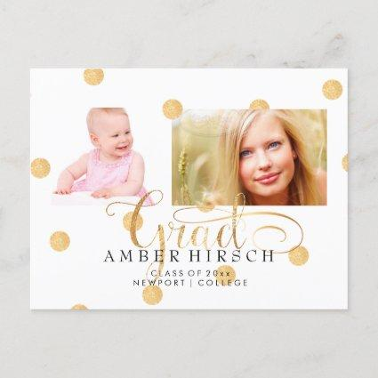 PixDezines Faux Gold Polka Dots Graduate photos Announcements Cards