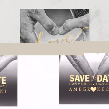 PixDezines Faux Gold Save the Date/Heart Announcements Cards