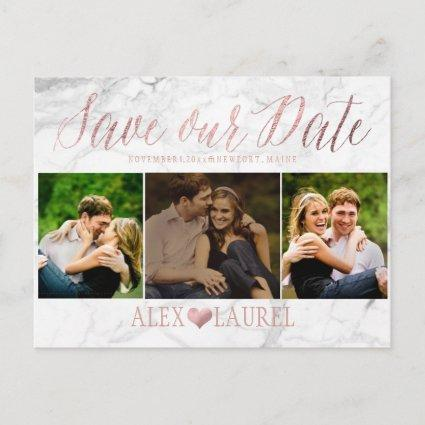 PixDezines FAUX ROSE GOLD/MARBLE/SAVE DATE Announcements Cards