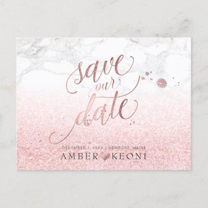 PixDezines Faux Rose Gold/Marble/Save our Date Announcement