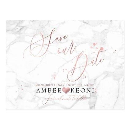 PixDezines Faux Rose Gold/Marble/Save our Date
