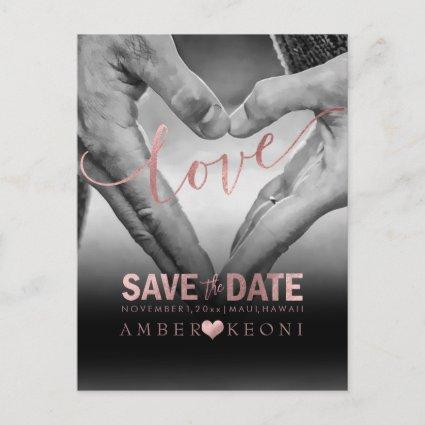 PixDezines Faux Rose Gold Save the Date/Heart Announcements Cards