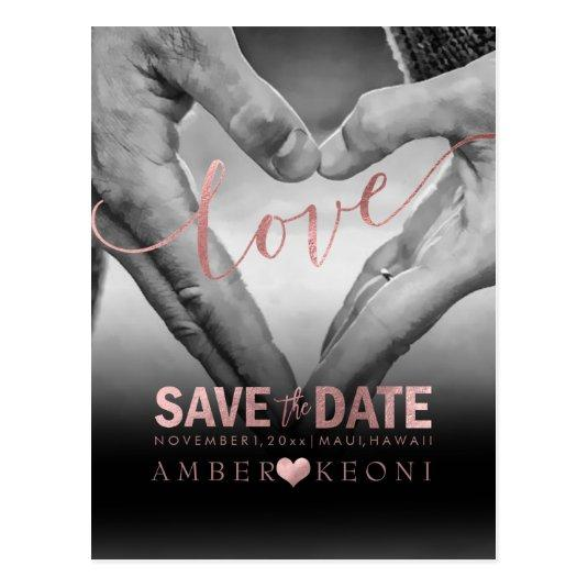 PixDezines Faux Rose Gold Save the Date/Heart Cards