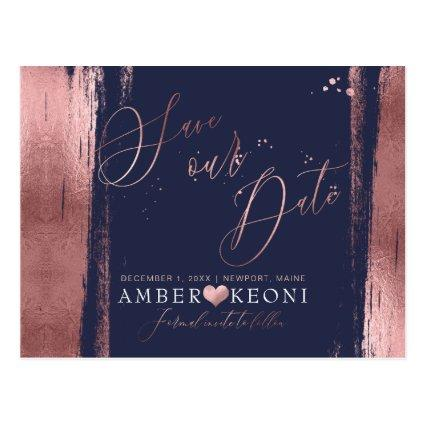 PixDezines Faux RoseGold Brushstroke Save our Date