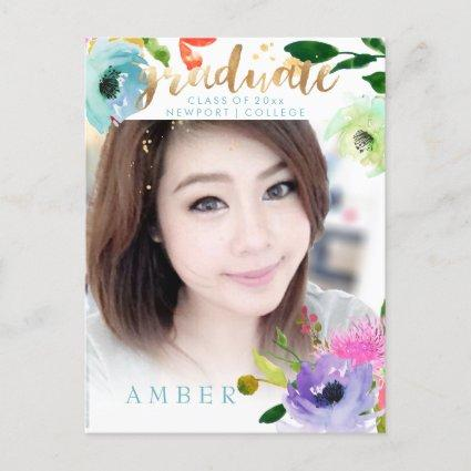 PixDezines Floral Watercolor Graduate photo Announcements Cards