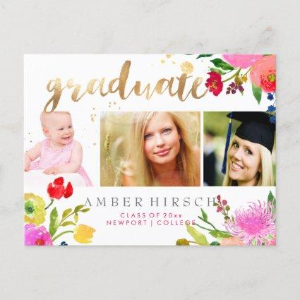 PixDezines Floral Watercolor Graduate photos Announcements Cards