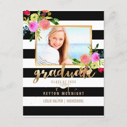 PixDezines Graduation/Floral Watercolor/Stripes Announcement